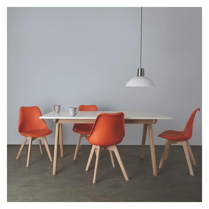 JERRY 4 seater dining set with Jerry extending table and 4 Jerry orange chairs
