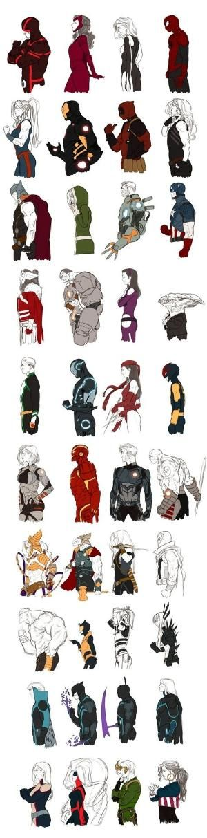 Kristafer Anka's Marvel NOW! series: Cyclops - Scarlet Witch - Invisible Woman - Spider-man She-Hulk - Iron Man - Deadpool - Red She-Hulk Thor - Rogue - Cable - Captain America Lady Sif - Hulk - Hawkeye - Broo Noh Varr - Iron Man Stealth - Elektra - Nova Gamora - Iron Man Godkiller - Starlord - Drax the Destroyer Angela - Beta Ray Bill - Valkyrie - Magneto Beast - Wasp - Dazzler - Magik Banshee - Daken - Grim Reaper - Sentry Monet - Medusa - Loki - America Chavez by sharon.smi