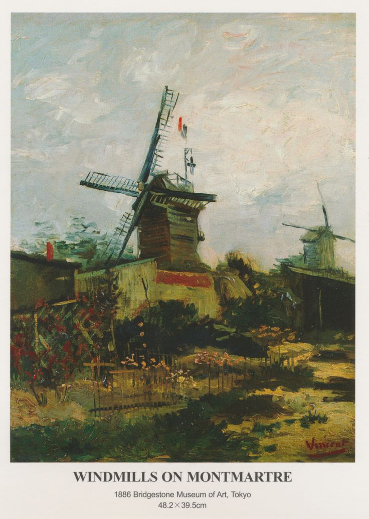 Van Gogh, Windmills on Montmarte Postcard from Nic in Quanzhou, China