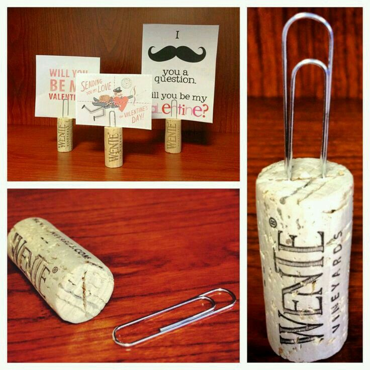 Paper clip wine cork place card holders