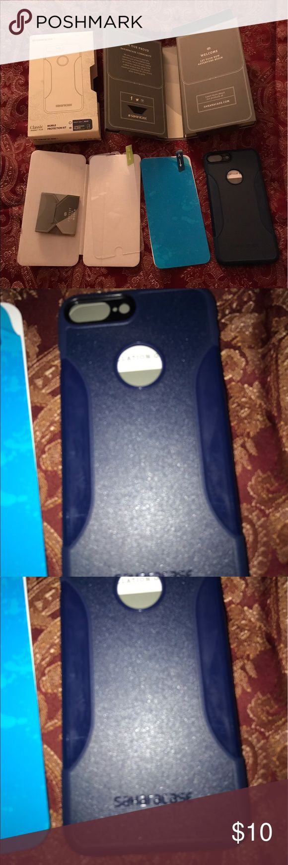 iPhone 7 plus case navy Sahara case protective kit iPhone 7 plus case...navy color....Sahara Case protective kit bundle with premium finish slim fit (shockproof bumper)....I bought this as a mistake....you will see it was opened and now I can't return it.....retails for $22! saharacase Accessories Phone Cases