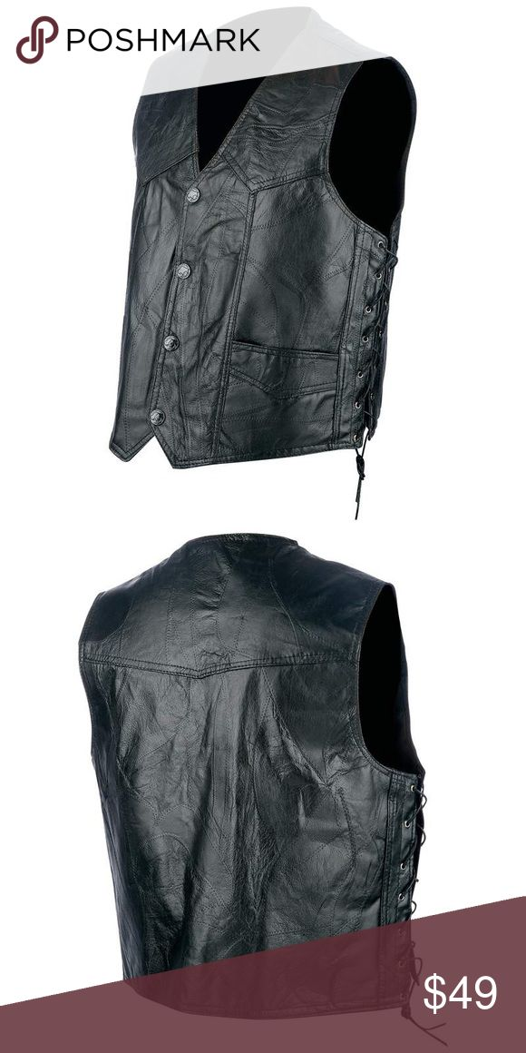 Rocky Ranch Hides Hog Leather Biker Vest Firm but supple genuine hog leather keeps your torso warm while allowing you maximum control of your bike without the weight and drag of a coat. Load this vest up with patches and impress your fellow riders. Fashionable topstitching accents, 2 front pockets, quality side ties lace through eyelet holes, black snaps close the front. Good quality and durable construction combine for an expensive looking vest. Rocky Ranch Hides Jackets & Coats Vests