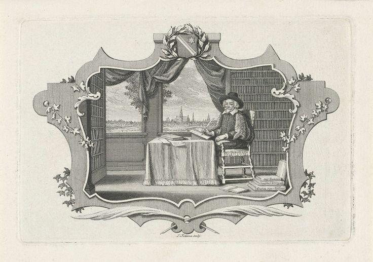 Jacob Folkema | Geleerde in zijn bibliotheek, Jacob Folkema, 1702 - 1767 | Een geleerde zit in zijn bibliotheek achter een bureau, door het raam zicht op een nabij gelegen stad. De voorstelling is gevat in een sierlijke lijst en gekroond met een wapenschild dat versierd is met olijftakken.
