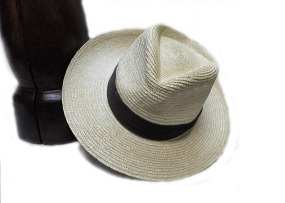 Natural Straw Rice Weave Wide Brim Fedora Hat