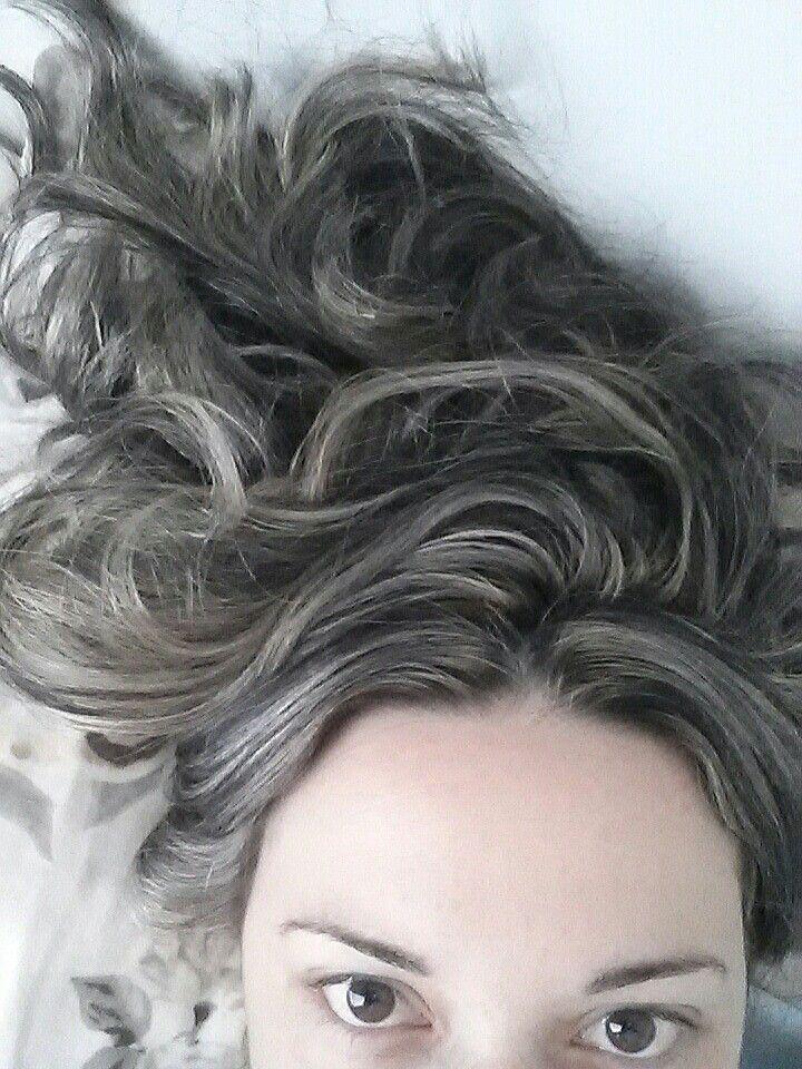 Black hair with platinum highlights. Love!!