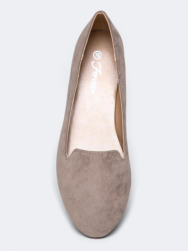 - These vegan suede loafers are both trendy and timeless. - Slip on flats have a round toe and are a comfy choice for work or play. - Non-skid sole and cushioned footbed. - Color- Taupe - Synthetic up