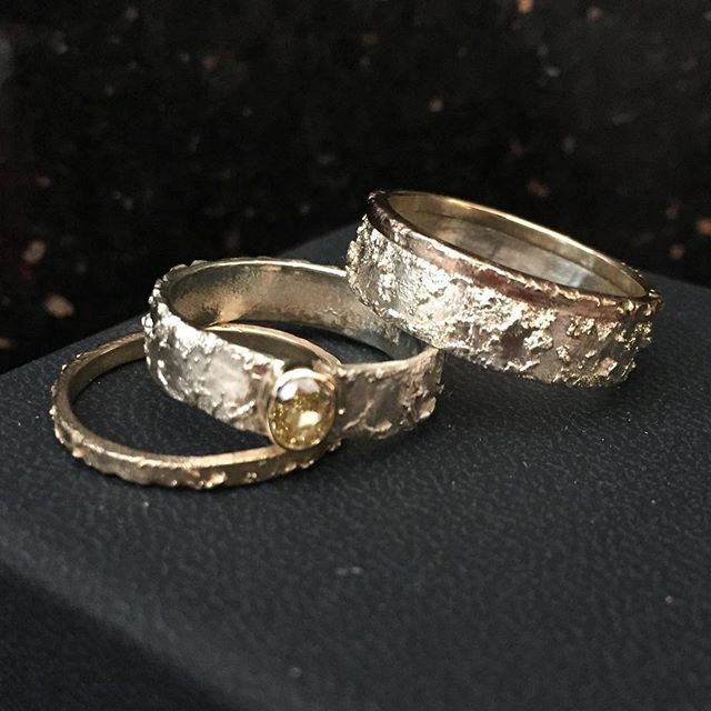 Just finished and posted to the customer ready for their wedding tomorrow! A beautiful set of wedding rings with a matching yellow diamond engagement ring. #love #yellowdiamond #unusualengagementring #weddingrings #handmadejewelry #handmadejewellery #besp