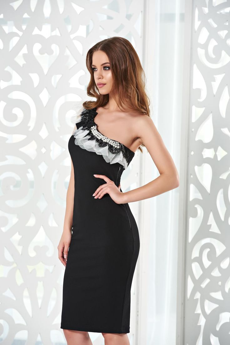 StarShinerS Distinctive Grace Black Dress, without clothing, one shoulder, bow…