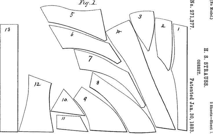 Corset patent 1883.  Click through for illustration of assembled corset.
