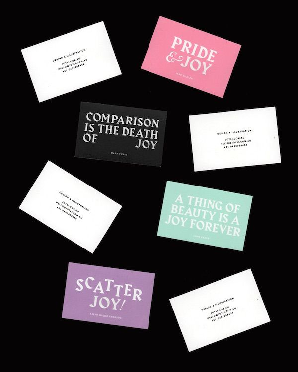 Designers Colorful Name Cards Feature Famous Literary Quotes With Her Name