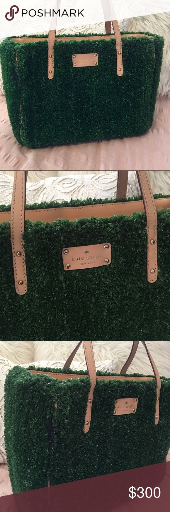 "RARE Kate Spade ""Hold Court Quinn"" AstroTurf Purse This rare, authentic Kate Spade ""Hold Court Quinn"" purse is in amazing, like-new condition. It has a few light markings on the interior but only noticeable upon close inspection. It's a faux grass texture with smooth leather trine. It has 14-Karat light gold plated hardware. It's perfect for football season, tennis season, spring, summer, you name it! Make a statement with this unique handbag! kate spade Bags"