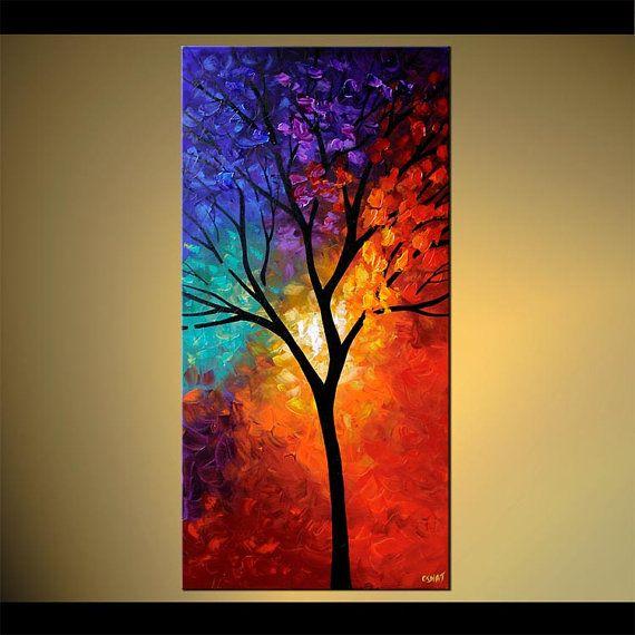 Colorido árbol impresión en lienzo embellecido y por OsnatFineArt