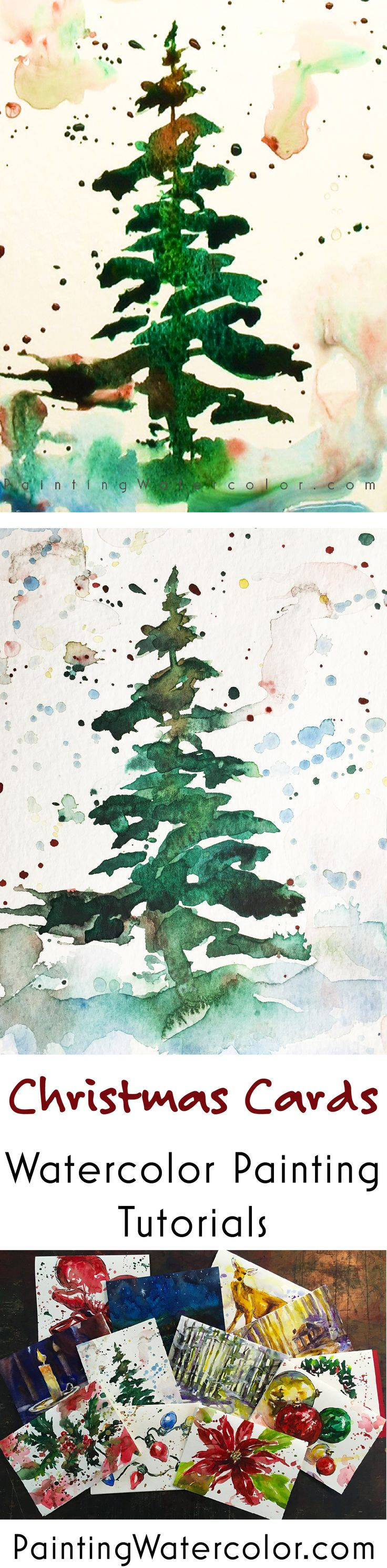 Paint a gorgeous Christmas tree card