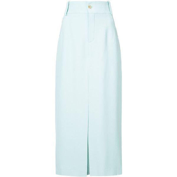 Chloé high waist culottes (73.095 RUB) via Polyvore featuring pants, capris, blue, blue pants, high waisted trousers, blue high waisted pants, high-waist trousers и high-waisted trousers
