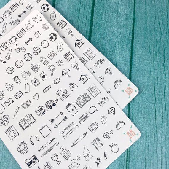 Mini agenda Icon autocollants par BohoBerryPaperie sur Etsy