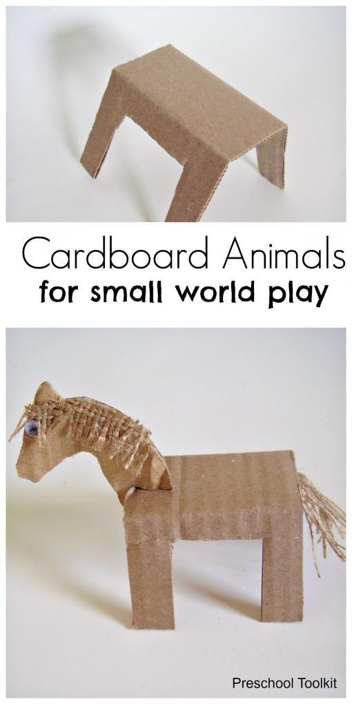 Kids will have fun adding homemade cardboard animals to small world play - Preschool Toolkit