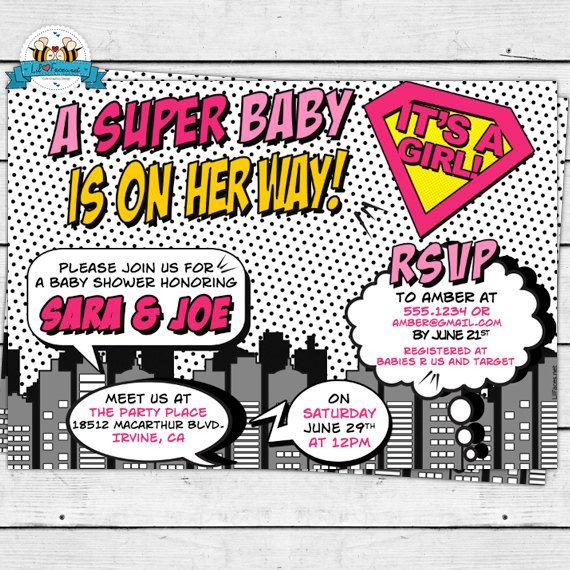 PRINTABLE Pop Art Superhero Baby Shower Cute Invitation - Invite Card - Marvel Comics Personalized invitation - Super hero GIRL Baby Shower on Etsy, $12.95