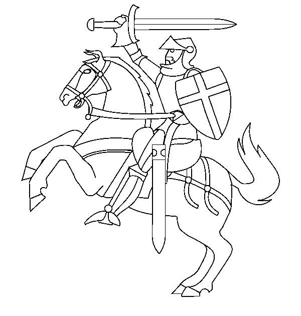 Knights Riding While Using The Sword Coloring Pages For Kids Printable Castles And