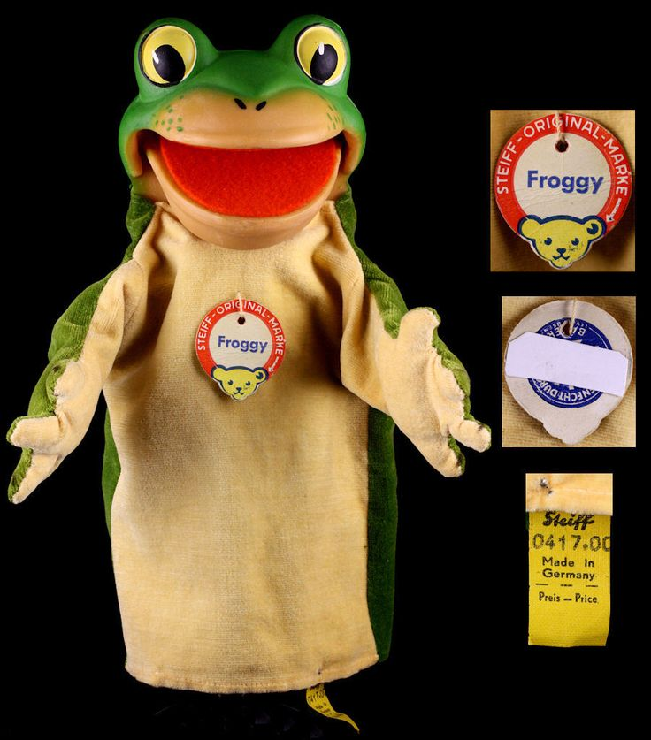 Rare Early '60s Steiff Big Mouth Happy Froggy Frog Hand Puppet 📌 All ID Talks. Kikker poppenkastpop.