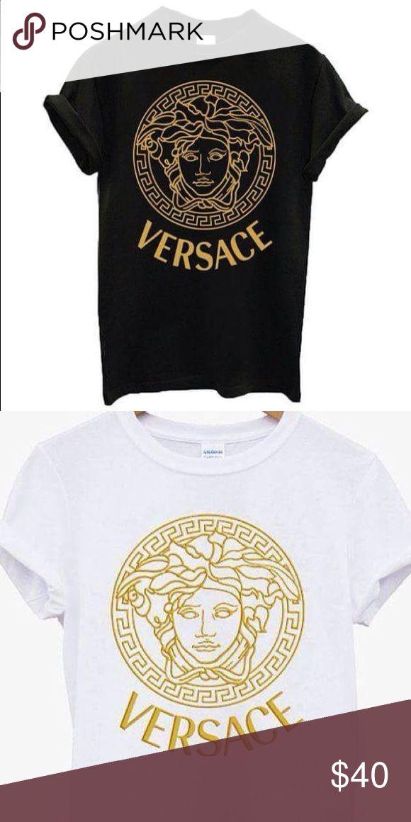 Versace medusa logo fashion Tshirt Versace medusa ladies gold logo fashion t shirt. Available in black or white t shirt, many sizes available Versace Tops Tees - Short Sleeve