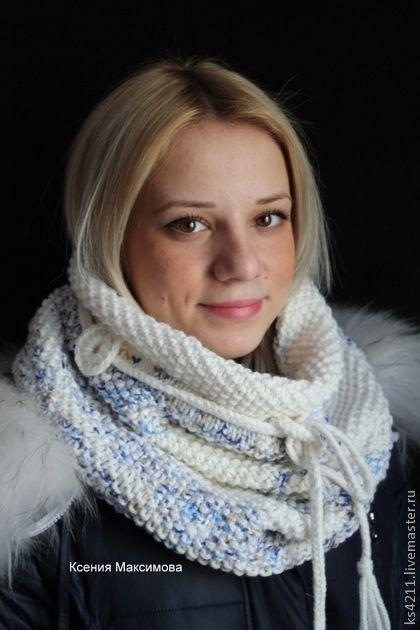 "снуд, шарф- хомут ""Снеговые облака"" - белый,голубой,снуд,шарф,хомут,воротник"