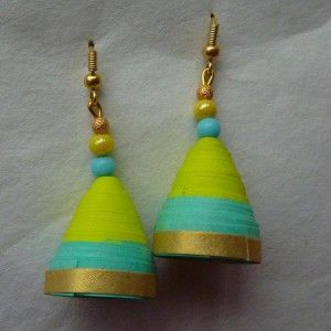 paper jhumka-double shade- indigo n yellow