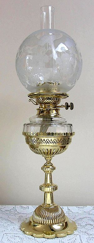 English Double Burner tall footed Dinner Lamp with removable glass font.