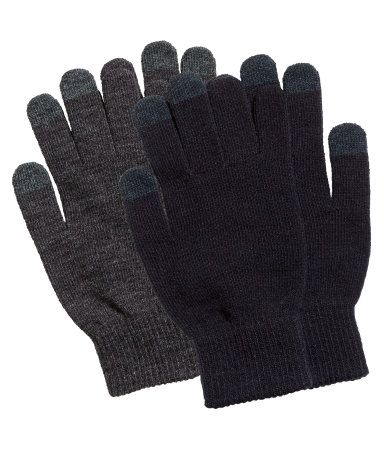 H&M Smartphone gloves, $10 for 2-pack. Fine-knit gloves with touchscreen-friendly finish on tips of thumb, index, and middle finger.