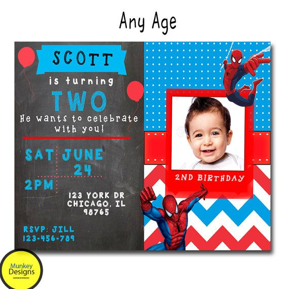 SPIDERMAN BIRTHDAY INVITATION Superhero Birthday by MunkeyDesigns