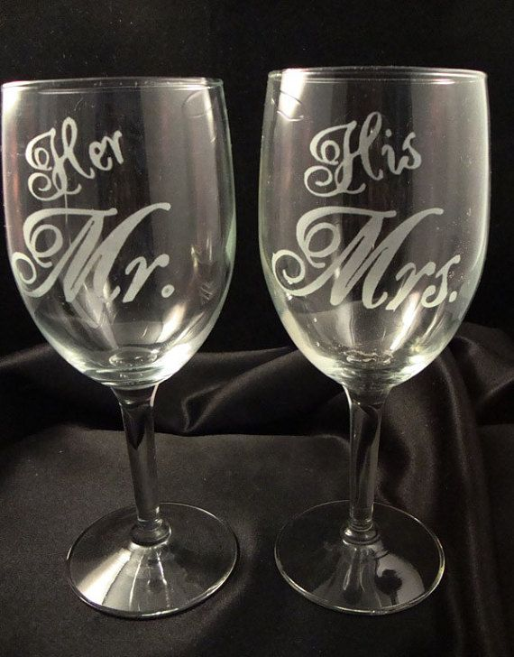 Custom Engraved Wine Glasses Bride And Groom Glasses Etched Wine