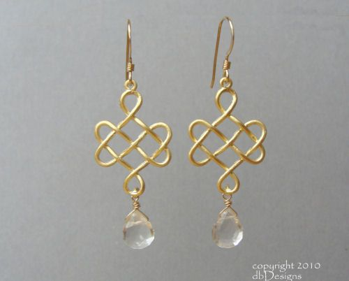 celtic wire jewelry tutorial | Golden Celtic Knot Earrings with Custom Gemstone Briolettes