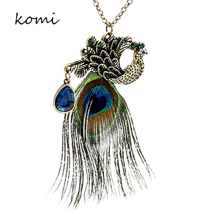 Cheap Necklaces Elegant Antique Bronze Plated Peacock Feather Designer