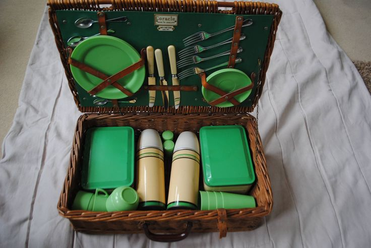 Vintage picnic basket 1950's Coracle army & navy stores London thermos flasks bandalasta by KickassAngel on Etsy