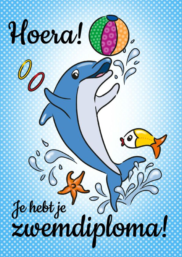 Zwemdiploma dolfijn   Kaarten, Grappige verjaardagskaarten ...