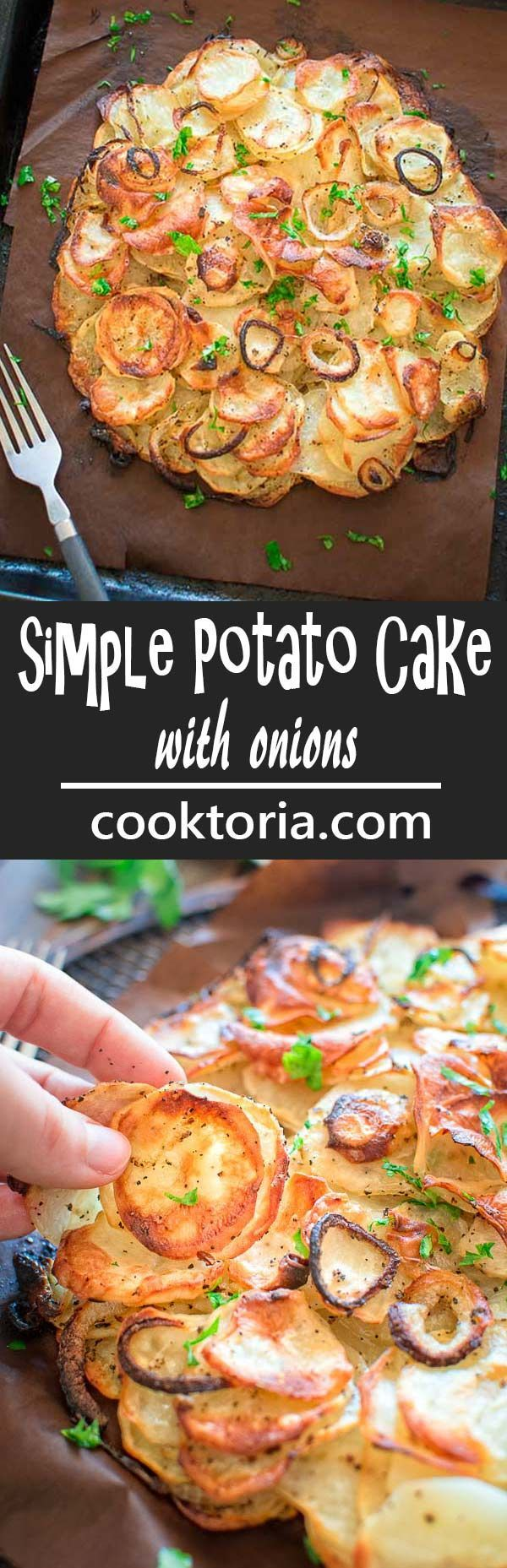 This Simple Potato Cake with Onions makes a perfect and filling lunch. Made with just 4 ingredients, this recipe is not to be missed! ❤️ COOKTORIA.COM