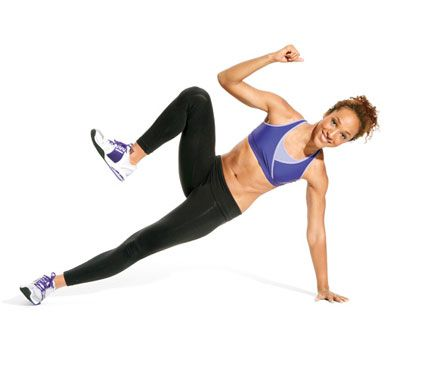 Side Slimmer- Start in side plank, left palm on floor, hips lifted and feet stacked, right arm reaching past ear to create a straight line from ankles to wrist. Bring right knee and right elbow toward each other (as shown). Return to start for 1 rep. Do reps. Switch sides; repeat. #abs #obliques #shoulders #butt #thighs #fitness #plank #workout #waistline #self_magazine www.self.com/...