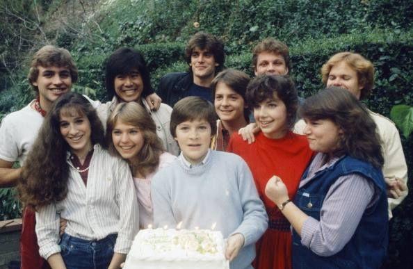FAMILY TIES -- Justine Bateman's 17th Birthday -- Pictured: (front row l-r) Sarah Jessica Parker, Kari Michaelsen, Jason Bateman, Michael J. Fox, Justine Bateman, Mindy Cohn