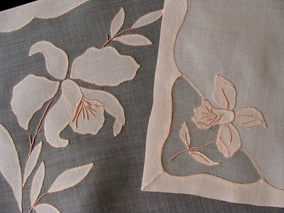 Vintage linen organdy Madeira tablecloth, runner and napkins in peach.