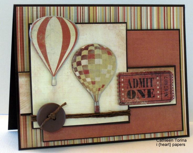 Bon voyage card idea - Kaisercraft paper