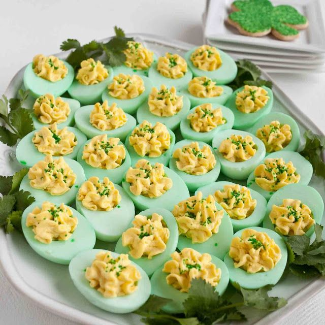Green devilled eggs for St Patrick's Day party. Really simple - all you need is some food colouring!
