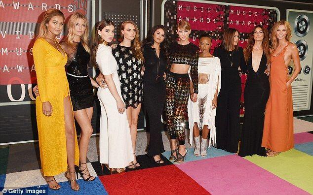 Girl squad: Gigi, Martha Hunt, Hailee Steinfeld, Cara Delevingne, Selena Gomez, Taylor Swi...