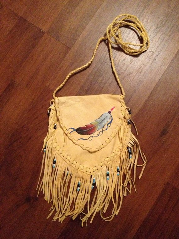 Tribal Feather Cross Shoulder Purse Yellow Leather Sling Bag Native American Iphone Pouch Indian Fringe Handpainted on Etsy, $27.70 AUD