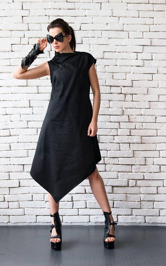 NUOVO nero asimmetrico abito/Plus Size sciolto tunica/stravaganti lungo Top/tunica senza maniche nero Abito/Maxi nero vestito/nero Maxi abito lungo