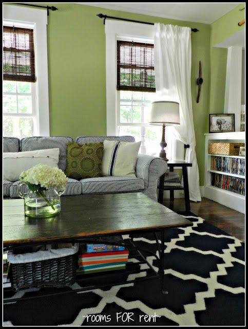 I'm getting closer and closer to going with lime green walls in the family room.  Thrifty Decor Chick: July Before and After Party!