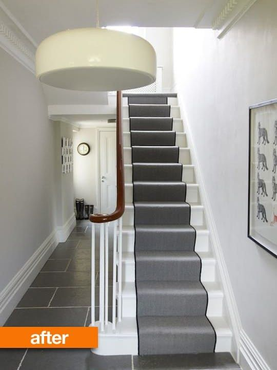 victorian entryway after renovation with gray tile