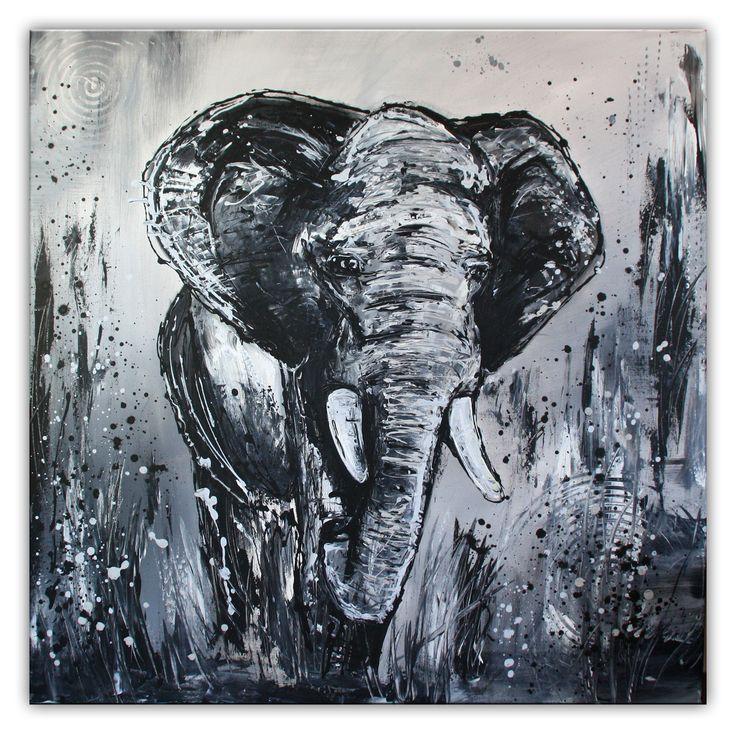 Elefant grau handgemalt - Malerei abstrakt - Leinwandbild #tierbilder #tiergemälde #tiermalerei #tiere #pferdebilder #pferdemalerei #pferdegemalt #gemaltepferde #handgemaltetiere #tierehandgemalt