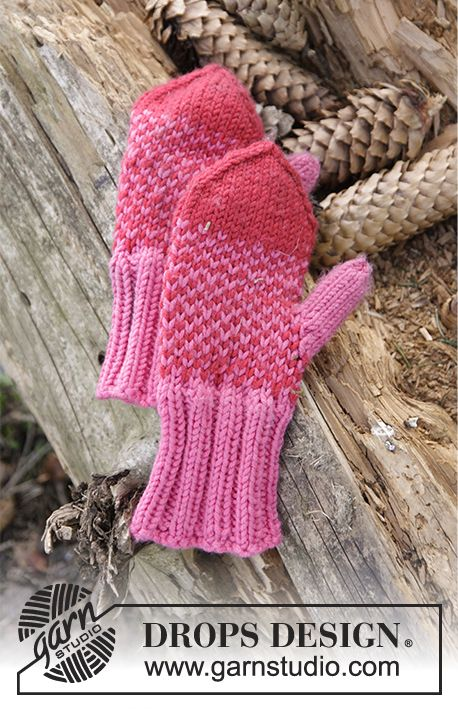 Warmhearted Mittens in two coloured pattern for the kids by DROPS Design. Free knitting pattern