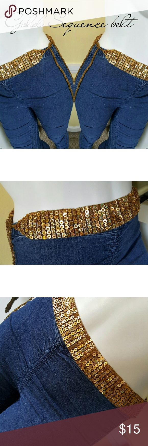 Vintage gold sequence tie belt. Vintage gold sequence tie belt. One size fits most. Very good condition.This belt is so pretty! Accessories Belts