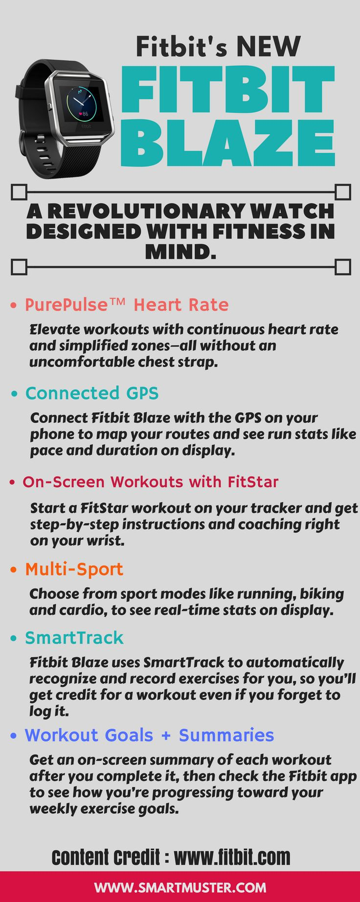Get fit in style with Fitbit Blaze Smart Fitness Watch that helps you maximize every workout and every day. With advanced technology in a versatile design, this revolutionary device is built to track your workouts, monitor your performance stats, and gauge your progress. Pure pulse continuous heart rate and multi sport modes enhance every exercise, while next generation features like connected GPS and fit star workouts on your wrist help you take your fitness to the next level.