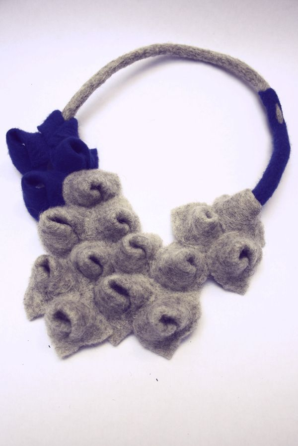 industrial mutations- felted wool jewelry by adina marin, via Behance